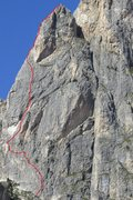 Rock Climbing Photo: Approximate line of route; actual start may vary. ...