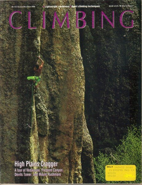 Paul Piana On the Cover of Climbing Magazine No. 122 October/ November 1990.