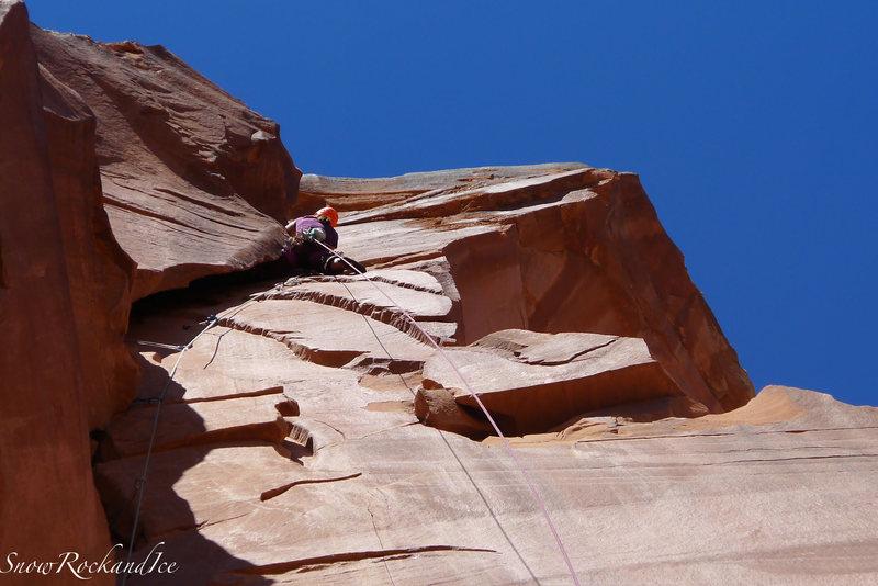 "Rock Climbing Photo: Rachel on the ""Ear"" pitch Sept 29th 2013"