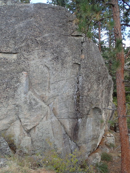 West Face of The Shaman's Stone - Little Oblivion follows the diagonal line to the left side of the upper face.
