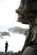 Rock Climbing Photo: Maudie & I over rough seas in late September, 2012