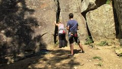 Rock Climbing Photo: Shows the offwidth crack start.