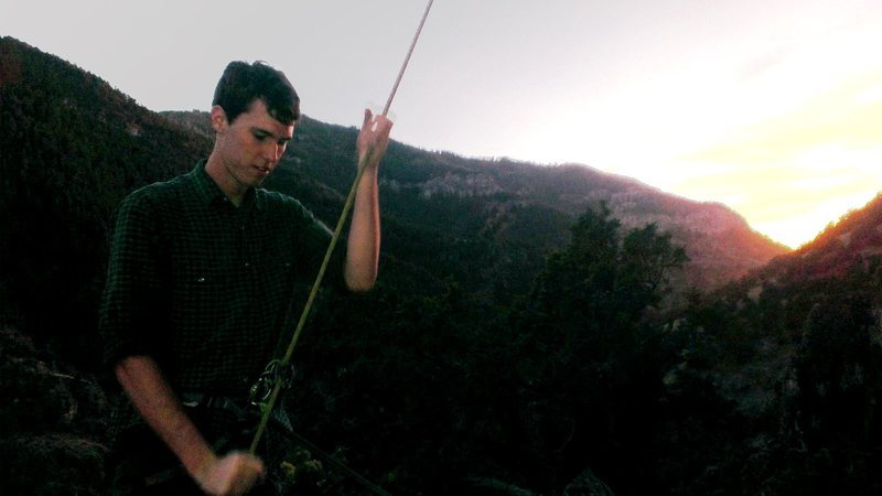Rock Climbing Photo: Belaying on Serotonin as the sun goes down.