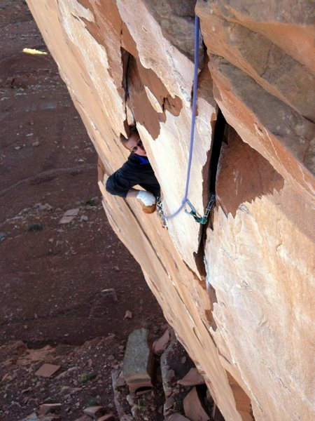 Rock Climbing Photo: The eyes tell the story.  Tom Michael near the end...