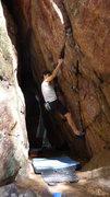 Rock Climbing Photo: Bumping off the undercling.