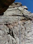 Rock Climbing Photo: It looks like most people ascend the crack to the ...