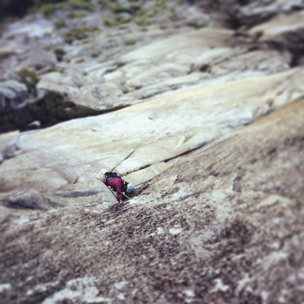 Rock Climbing Photo: Kim in a sea of granite. Pitches 3 and 4