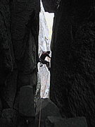 """Rock Climbing Photo: Climbing up the neck of the chimney to the """"w..."""