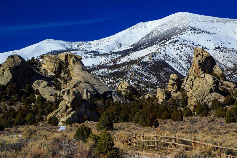 Rock Climbing Photo: The Castle in March. Taco on the far left, Fenceli...
