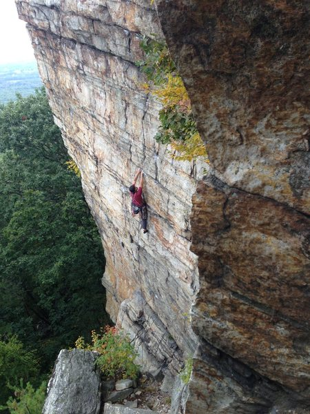Starting the overhanging section off the ledge. - September 2013