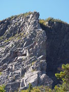 """Overview of the climb. If you view the full size of the image you can find me building an anchor at the top of the """"Pipe"""" pitch and my partner is on the ledge at the top of the p2. - September 2013"""