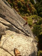 Rock Climbing Photo: Looking down at Eric from partway up P2 of Compute...
