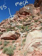 Picture shows the small trail leading up towards the boulder relative to moderate mecca wall