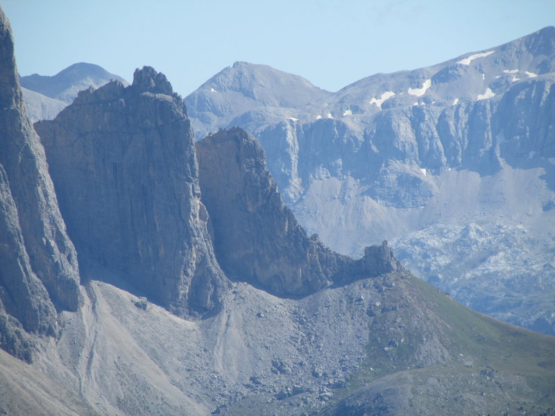 Telephoto view of the Sella Towers. First Sellaturm in profile, and the Stegerkante forms the beautiful parabolic curve to the summit.