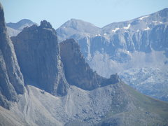 Rock Climbing Photo: First Sellaturm in center; the Steger Route genera...