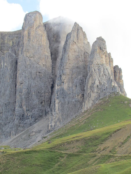 Classic view from Wolkenstein side of Sella Pass.