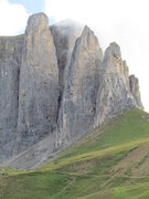 Rock Climbing Photo: Classic view from Wolkenstein side of Sella Pass.