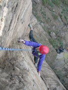Rock Climbing Photo: Deb reaches for the top of the dihedral's useful h...