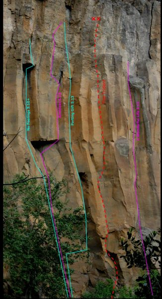 Rock Climbing Photo: Red line follows the path of The Trident