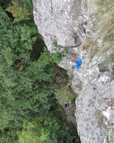 Looking down P2. Climber Paul Ross