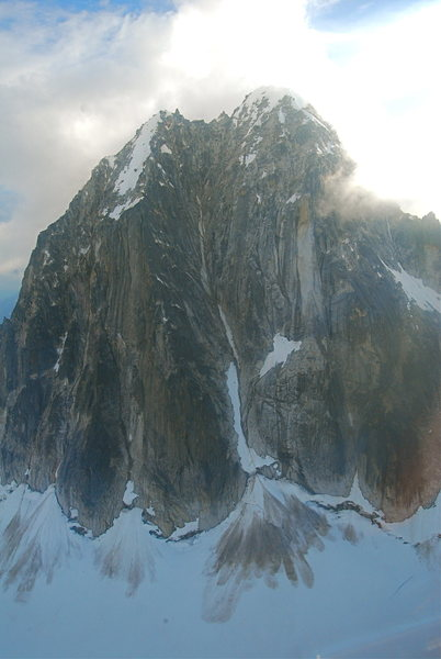 The Royal Tower. The Gargoyle Buttress is left of center and leads to the smaller summit. The tiny snow blob of the first pitch can be seen.