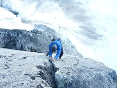 Rock Climbing Photo: End of the 5th pitch. Gives a taste of some clean ...