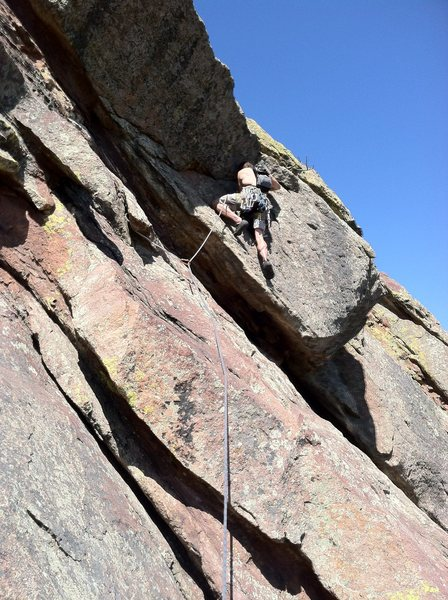 Steve T. taking the less-secure way through the crux roof.