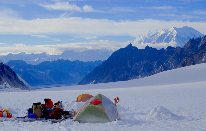Camp on the Pika with a sunny Foraker in the distance. Infinite Spur and French Ridge are clear and beautiful