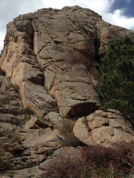 Left Dihedral is the obvious, left-facing dihedral on the left side of Left Hand Rock.