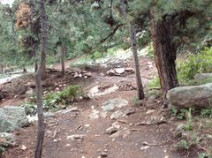 Drainage that starts near the 2nd Flatiron south side.  This is the trail leading to the 3rd and 2nd just after you go by the Blue Bell shelter.  The damage is big.  Very wet and muddy on the lower trails. <br />