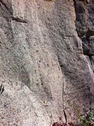 Rock Climbing Photo: The route begins where the seam splits the otherwi...