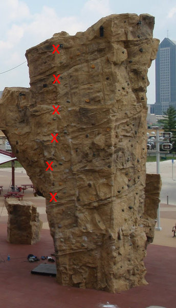 Rock Climbing Photo: X marks the bolts