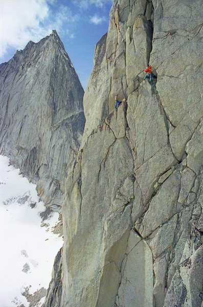 Last pitch of Paddle Flake from McTech Arete.  NW ridge of Bugaboo Spire on left.<br> (another version of Phil Lauffen's picture!)