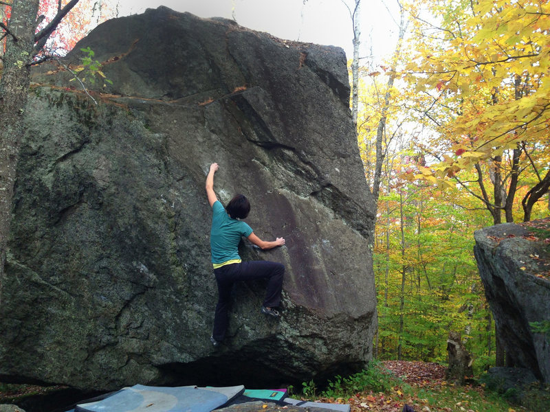 Erika Curry-Elrod cruising 'The Actual Edge Of Gumby' (v4-)- McKenzie Pond, New York.