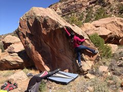 Rock Climbing Photo: Teri moving from the start to the first big jug.