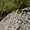 Becky nearing the top of Peterbilt.