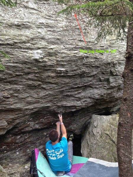 This photo shows the starting hold for 'Bejesus'. As shown, the juggy flake out right is 'off'. The crimps that are used are purposely ticked to make the line of travel clearer.
