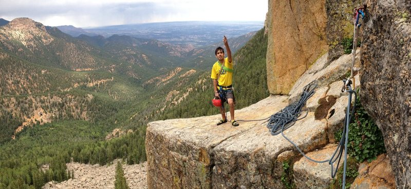 Rock Climbing Photo: Top of P1 on the big ledge.
