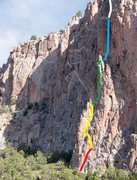 Rock Climbing Photo: Red - pitch 1. Yellow - pitch 2. Green - pitch 3. ...