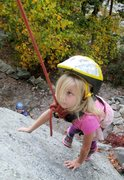 Rock Climbing Photo: A beginner works the route