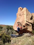 Rock Climbing Photo: Left hand moving to the triangle feature on the le...