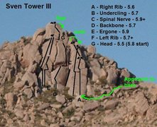 Routes of Sven Tower III with approach trail.
