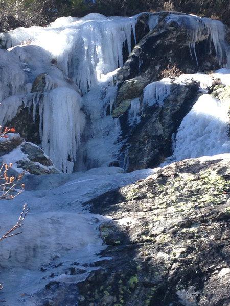 Ice bouldering below lower Blue....
