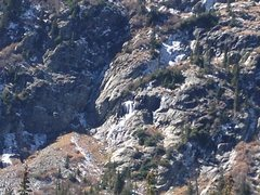 Rock Climbing Photo: The area below lower Blue Lake...bad pic, but line...