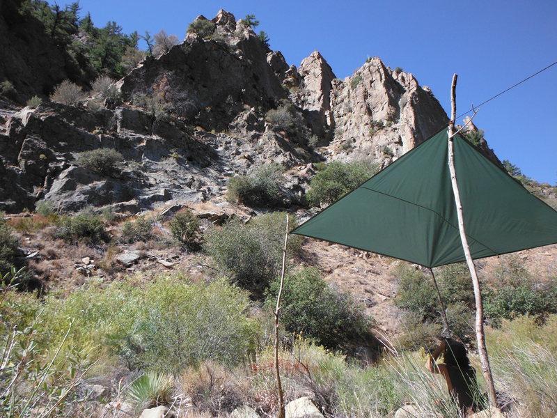 Rock Climbing Photo: Avoiding the heat, picking a line.
