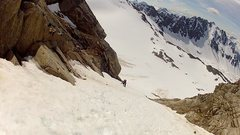 Rock Climbing Photo: Climbing a coulior of steep snow on the First Asce...