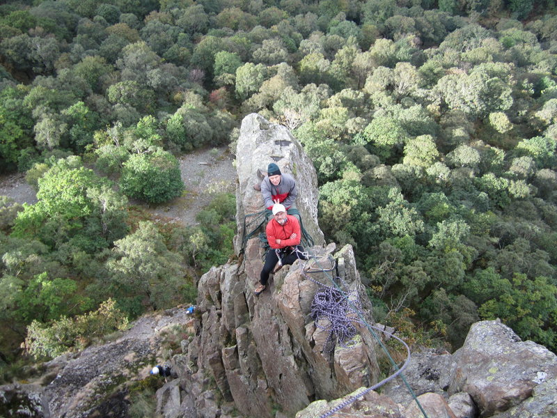 Looking down on the top of the Pinnacle from the last pitch