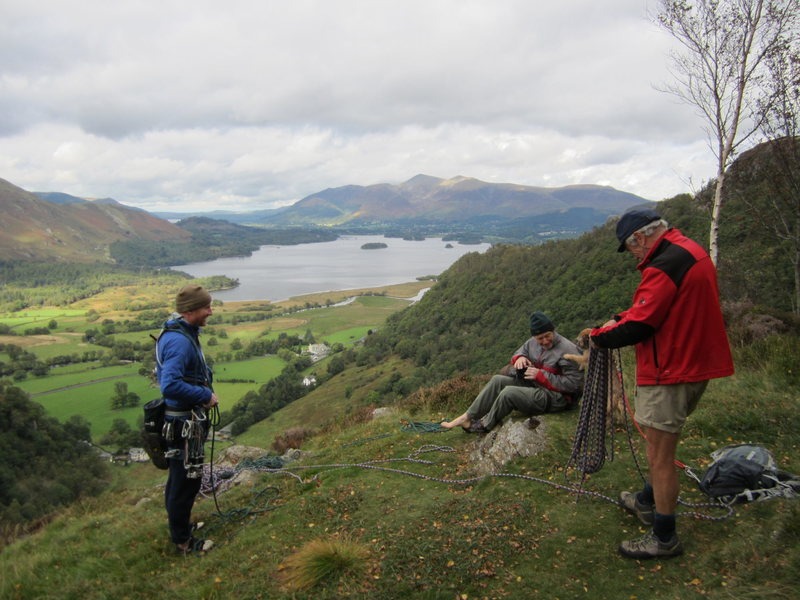 On top of Black crag. Great Views towards the town of Keswick and Derwentwater Lake. Andy Ross, Gene Vallee, Terrier, Pete Armstrong