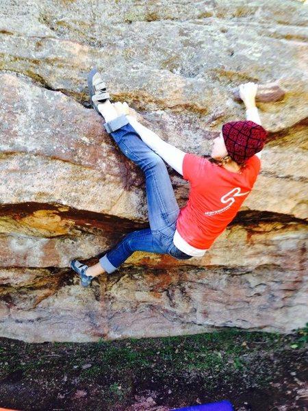Rock Climbing Photo: Sending the V2 Traverse: Schnitzel Bock at the Ter...