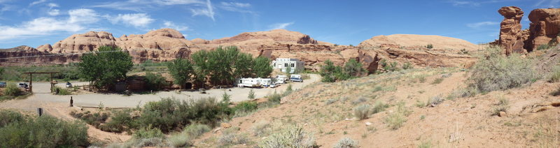 Kane springs camp with Phurba on the right at the entrance of pritchett canyon.